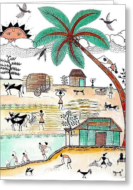 Busy Warli Day Greeting Card by Anjali Vaidya