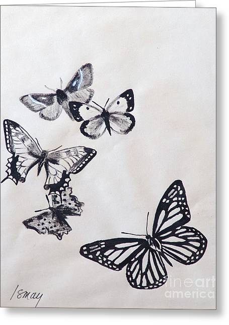 Greeting Card featuring the drawing Butterflies And Moths by Rod Ismay