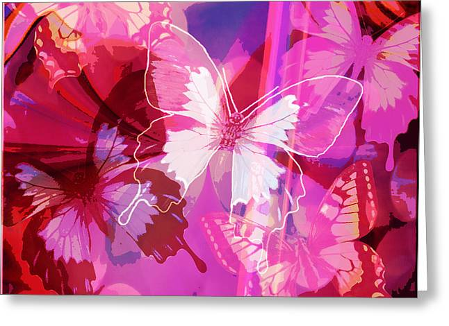 Butterflies En Rouge Greeting Card by Jan Steadman-Jackson