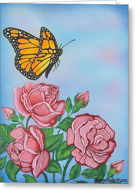 Butterfly And Roses Greeting Card by Margaret Stoller