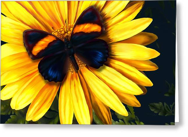 Butterfly On Yellow Greeting Card by Virginia Palomeque