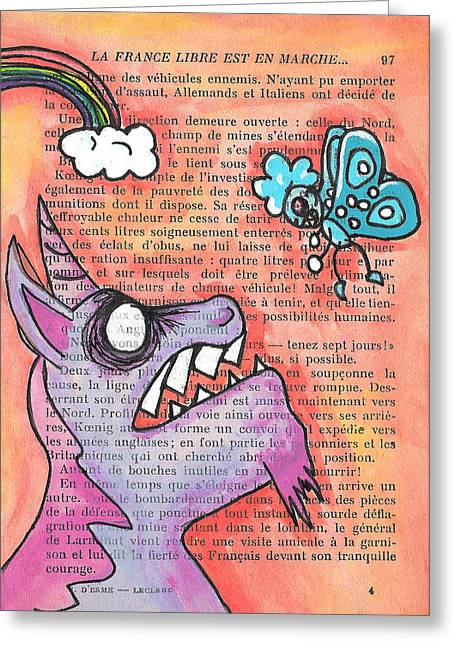 Butterfly Vs Unicorn Greeting Card