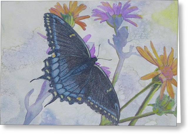 Greeting Card featuring the painting Butterly by Robert Decker