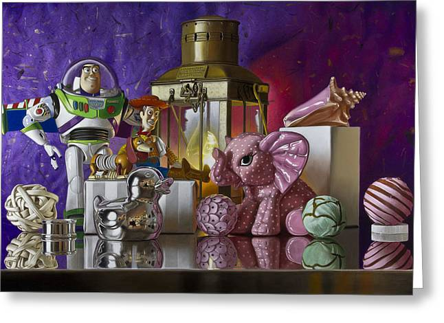 Buzz With Pink Elephant Greeting Card by Tony Chimento