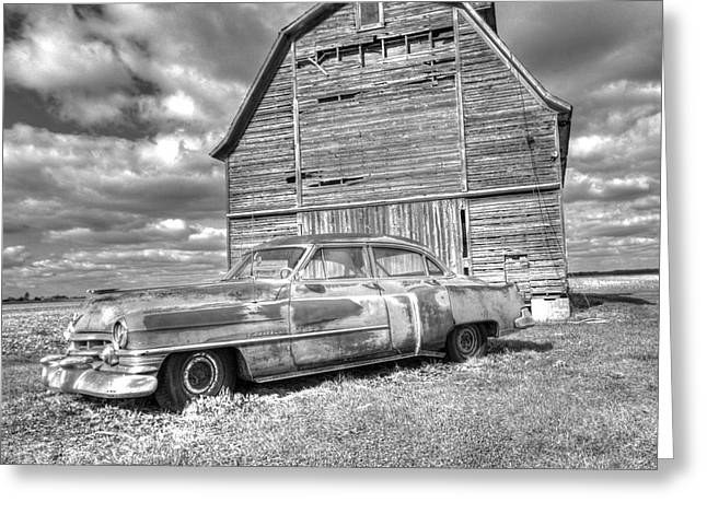 Bw - Rusty Old Cadillac Greeting Card