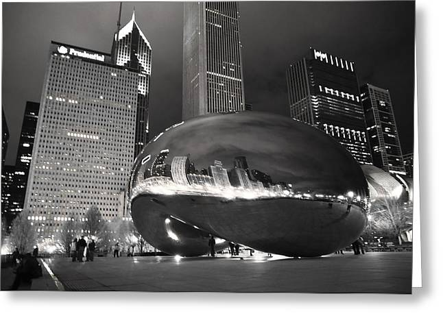 Bw Cloud Gate At Night Greeting Card by Jarvis Chau