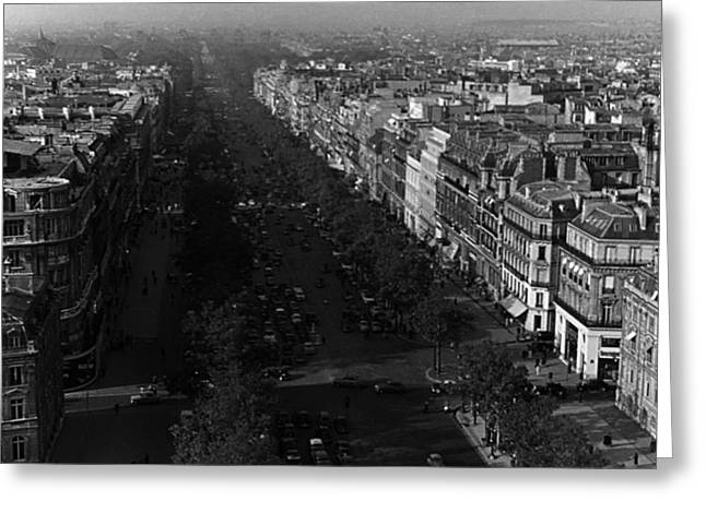 Bw France Paris Champs Elysees Avenue 1970s Greeting Card by Issame Saidi