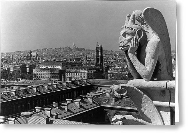 Bw France Paris Notre Dame Cathedral The Thinker 1970s Greeting Card by Issame Saidi