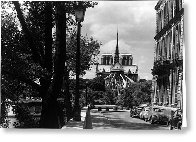 Bw France Paris Notre Dame Saint Louis Island 1970s Greeting Card by Issame Saidi