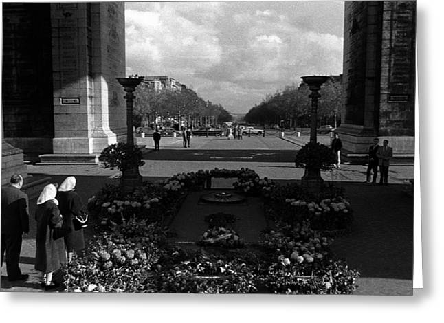 Bw France Paris Triumphal Arch Unknown Soldier 1970s Greeting Card by Issame Saidi