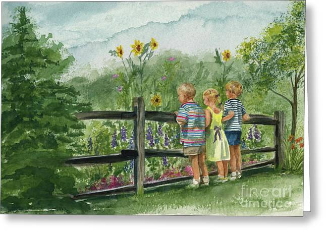 Greeting Card featuring the painting By The Garden Fence  by Nancy Patterson
