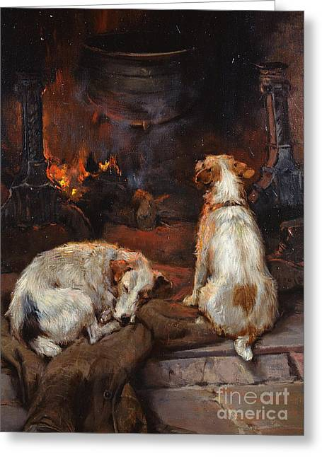By The Hearth Greeting Card by Philip Eustace Stretton