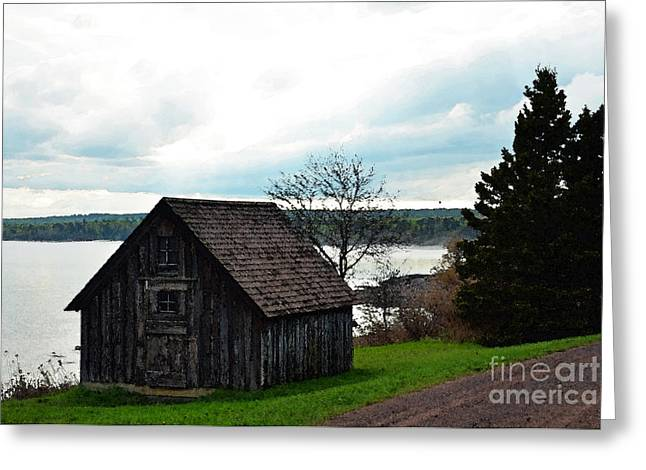 By The Lake Greeting Card by Whispering Feather Gallery