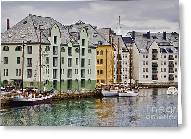 By The Waterside Alesund Norway Greeting Card