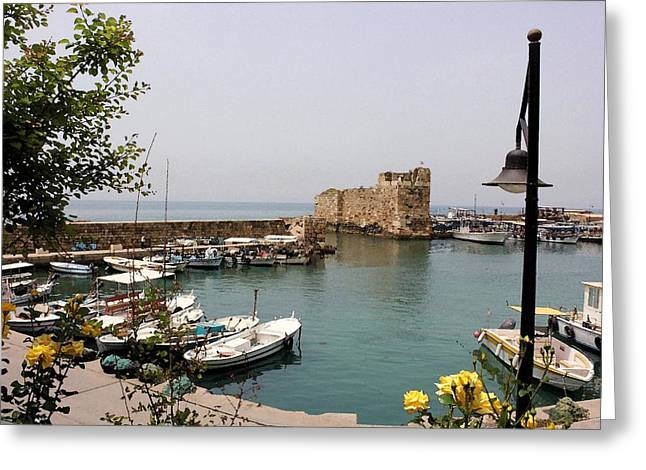 Byblos Waterfront Greeting Card by Tia Anderson-Esguerra