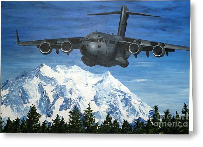 C-17 And Mt. Rainier Greeting Card