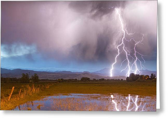 C2g Lightning Bolts Striking Longs Peak Foothills 6 Greeting Card