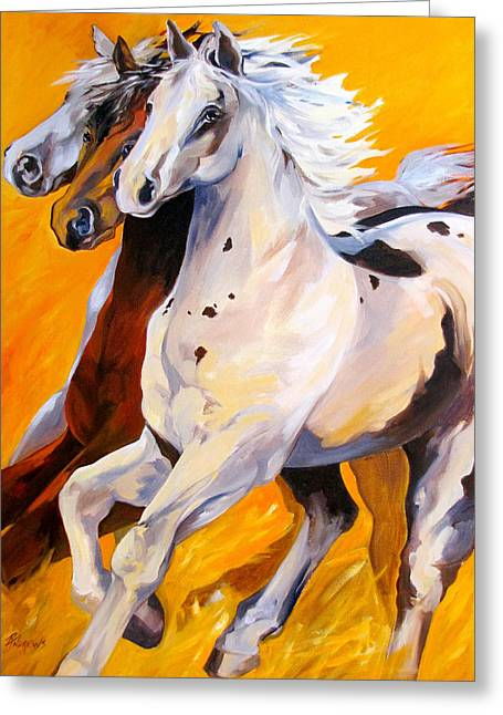 Greeting Card featuring the painting Caballo Allegoria by Rae Andrews