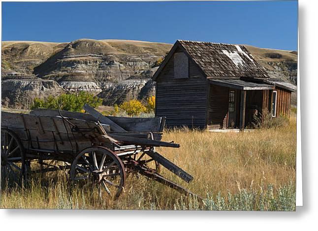 Cabin And Wagon Alberta  Greeting Card