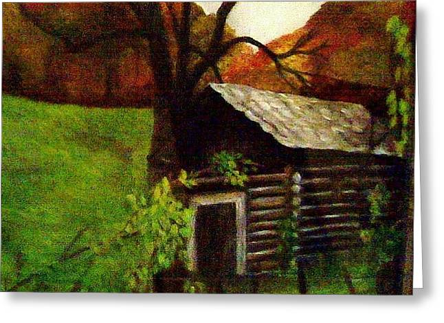 Greeting Card featuring the painting Cabin By A Hillside by Christy Saunders Church
