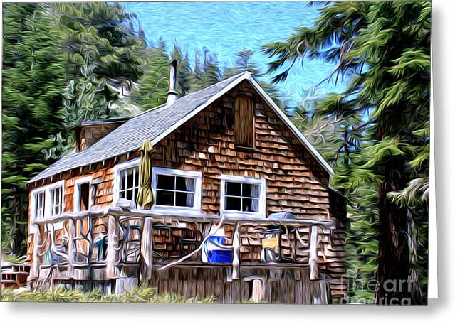 Cabin By The Lake Greeting Card by Anne Raczkowski