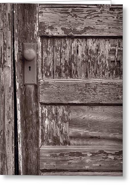 Cabin Door Bw Greeting Card by Steve Gadomski