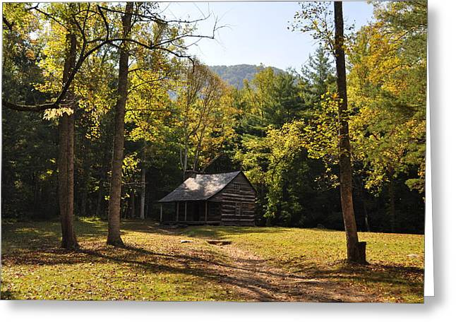 Cabin In The Smokies Greeting Card by Jeff Moose