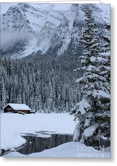 Greeting Card featuring the photograph Cabin In The Snow by Alyce Taylor