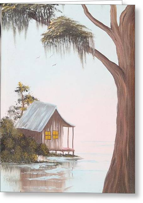 Cabin In The Swamp Greeting Card by Mary Matherne
