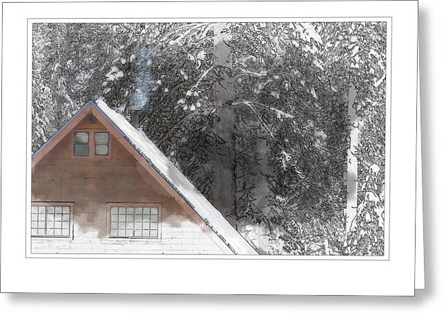 Cabin In The Winter Greeting Card by Brandon Bourdages