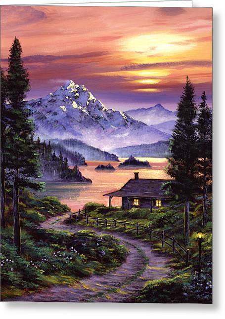 Cabin On The Lake Greeting Card by David Lloyd Glover