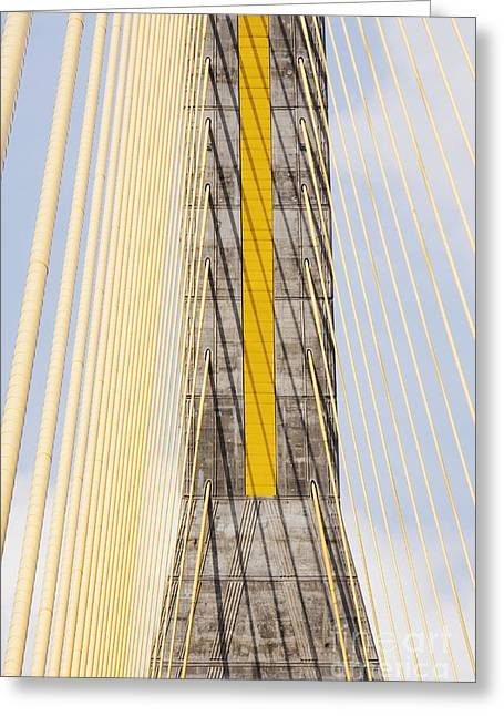 Cables And Tower Of Cable Stay Bridge Greeting Card by Jeremy Woodhouse