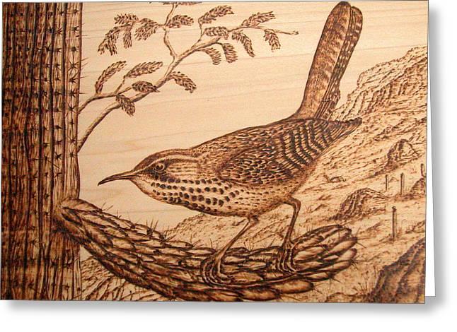 Cactus Wren Greeting Card by Susan Rice