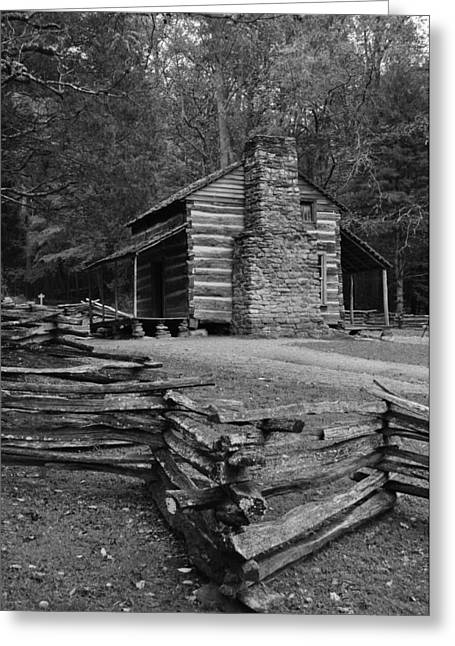 Cades Cove Cabin Greeting Card by Jeff Moose
