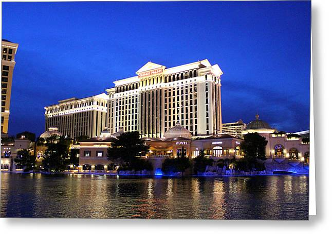 Caesars Palace At Dusk Greeting Card