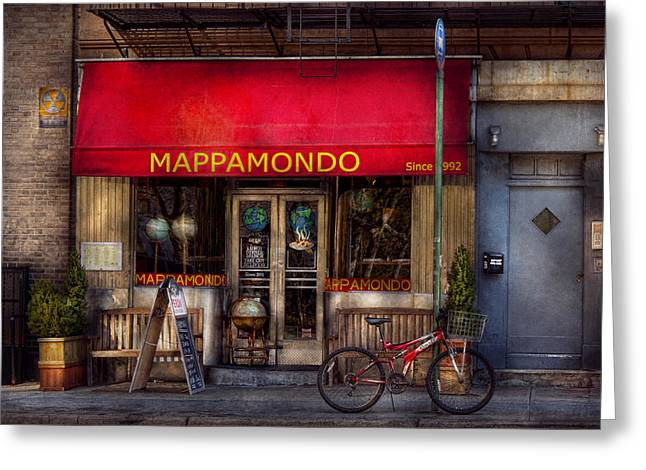 Cafe - Ny - Chelsea - Mappamondo  Greeting Card by Mike Savad