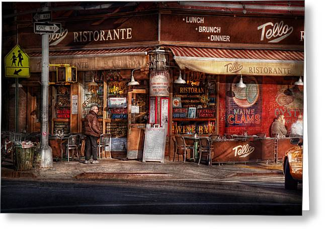 Cafe - Ny - Chelsea - Tello Ristorante Greeting Card by Mike Savad