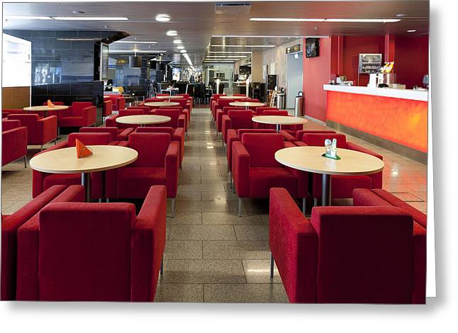 Cafe And Bar Area In Tallinn Airport Greeting Card by Jaak Nilson