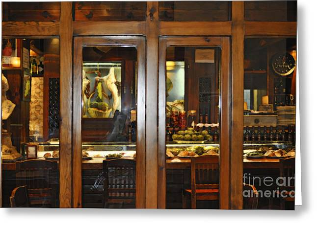 Cafe At Night In Seville Spain Greeting Card by Mary Machare