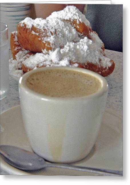 Cafe Au Lait And Beignets Greeting Card by Helen Haw