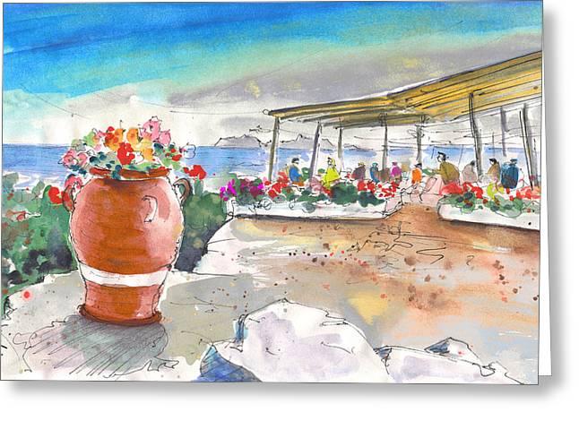 Cafe On Agios Georgios Beach Greeting Card by Miki De Goodaboom