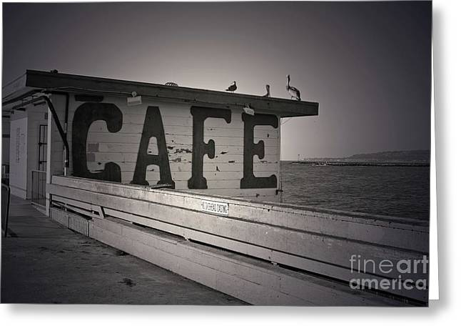 Cafe On The Pier Greeting Card