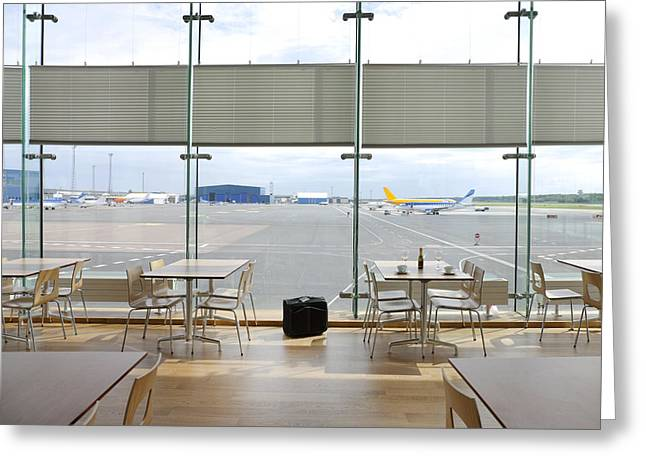 Cafe Restaurant In Tallinn Airport Greeting Card by Jaak Nilson