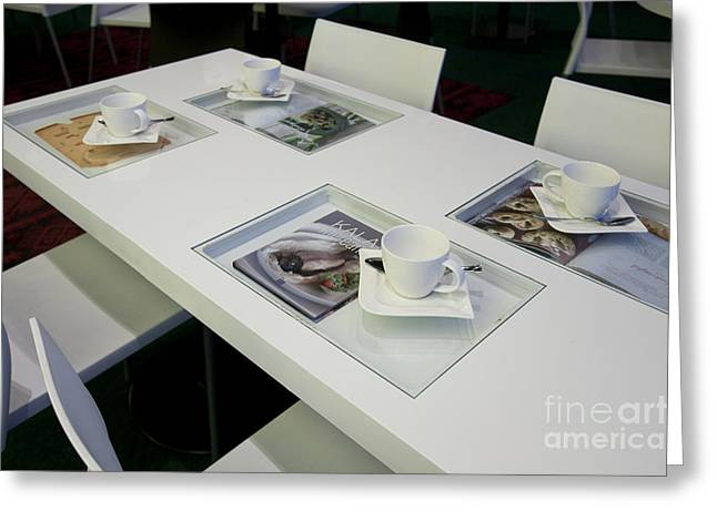 Cafe Table With Cookbooks Greeting Card by Jaak Nilson