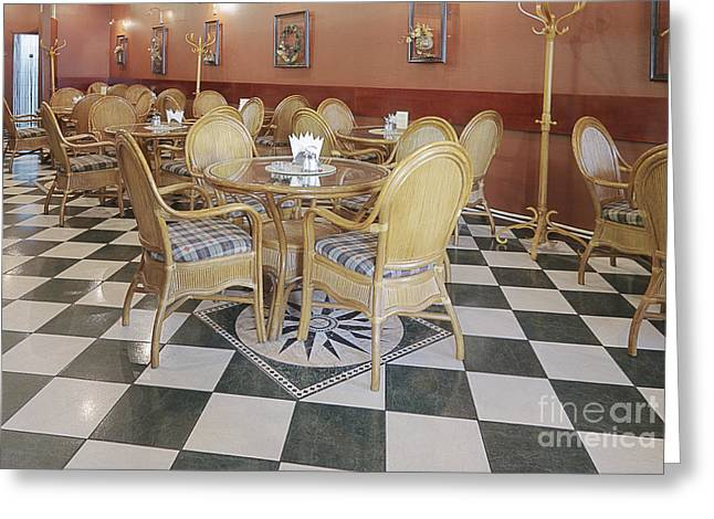 Cafe With Rattan Furniture Greeting Card by Magomed Magomedagaev
