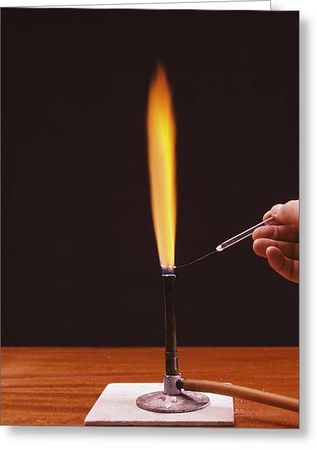 Calcium Flame Test Greeting Card by Andrew Lambert Photography