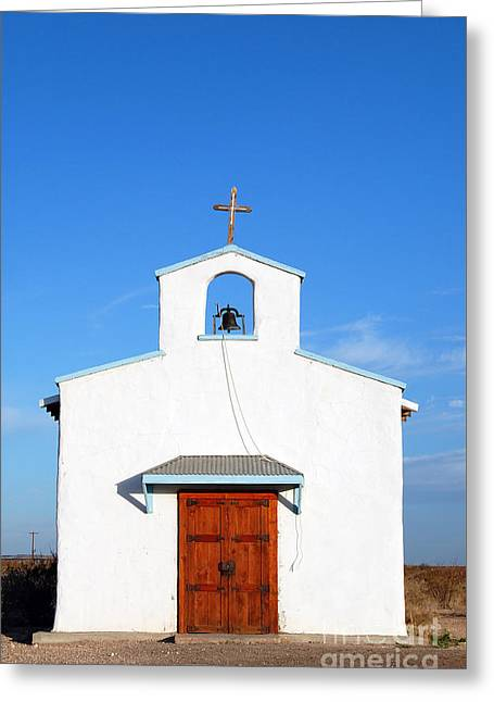 Calera Mission Chapel Facade In West Texas Greeting Card by Shawn O'Brien