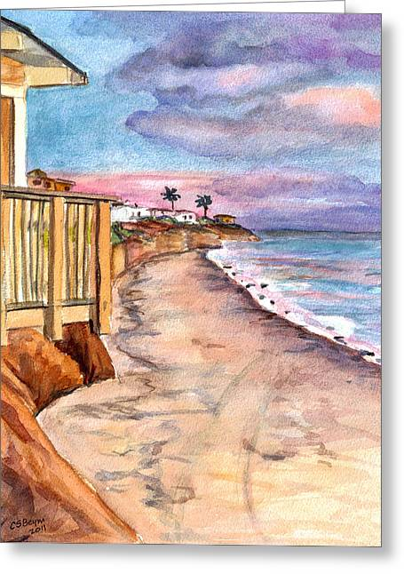 Greeting Card featuring the painting California Coast by Clara Sue Beym
