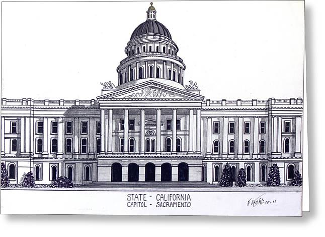 California State Capitol Drawing by Frederic Kohli