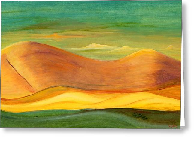 Greeting Card featuring the painting California Sunset by Terry Taylor